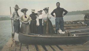 Canoe Trip Handcolored Vintage Photo
